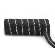 Молния рулонная металлическая №5 серебро(25м) чёрная