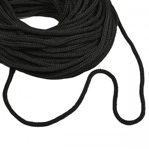 Шнур  полиэфир 5 мм с наполнителем  (200м)  чёрный