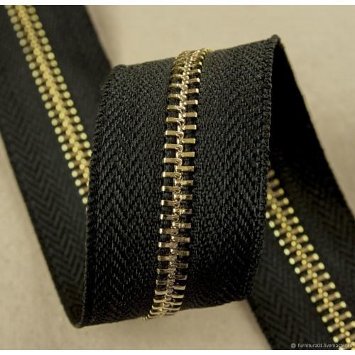 Молния рулонная металлическая №5 золото (5м) чёрная
