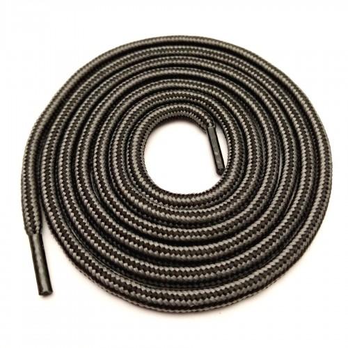 """Шнурки тип 13         """"Наполнитель""""   120см  чёрный +серый в полоску  (25пар)"""