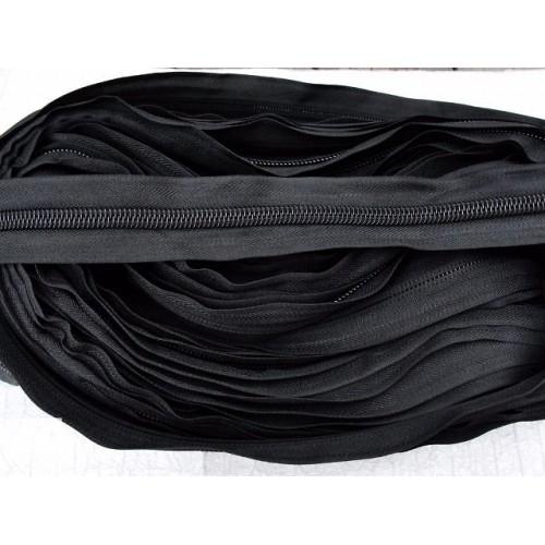 Молния рулонная спиральная №8А улучшенное качество (200м) чёрная (21 г/м)